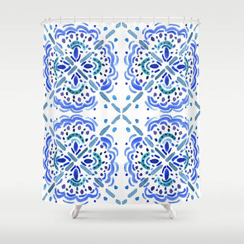 "Blue and White - ""Amalfi Coast"" - blue teal, turquoise , pattern, watercolor bold, clean, tile pattern,  bathroom decor"