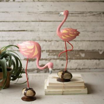 Set of 2 Painted Metal Flamingos On Caged Rock Bases