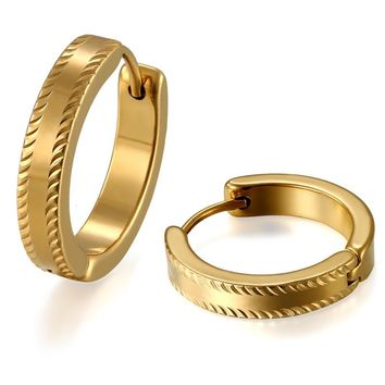 SHIPS FROM USA Simple Small Gold Hoop Earrings Fashion Stainless Steel Jewelry for Men Women Birthday's Gift Boucle D'oreille