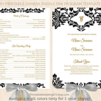 Black And White Damask Paddle Fan Program Template Printable Pr