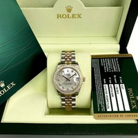 Rolex 31MM Diamond Datejust 18K Gold SS Watch Ref 178383 Box Paper Factory MOP