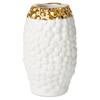 Poreclain Oval Textured Vase, White/Gold, Other Lifestyle Accessories