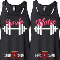 Women's Best Friends Swole Mates Workout Tanks - Tank Tops Working Out Lift Gym Besties
