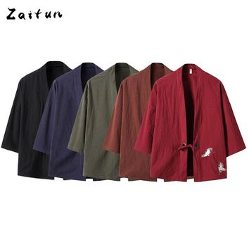 ZAITUN Embroidery Japanese Harajuku Kimono Linen Shirt Men Swag Fashion Retro Origin Tops Brand Clothing