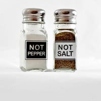 Black and White Salt and Pepper Shakers Engraved Glass