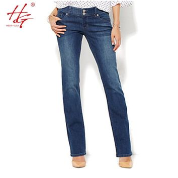 flare women jeans autumn bell bottom pants female deep blue denim pants HG brand mid-waisted jeans femme plus size