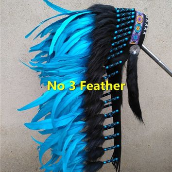 28inch turquoise Chief Indian feather Headdress American indian War Bonnet  handmade indian headdress for halloween party decor