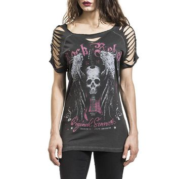 Skull Printed Women's T-shirts O-neck Short Sleeve