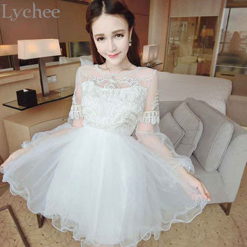 Lychee Elegant Spring Summer Women Dress Lolita Lace Mesh Patchwork Lantern Sleeve Mini Dress Party Dress