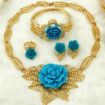 2018 New Dubai Fashion Charm Bride Jewelry Accessories African Crystal Rose Pendant Necklace Women Wedding Big Jewelry Sets