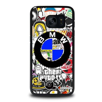 bmw sticker bomb samsung galaxy s7 edge case cover  number 1
