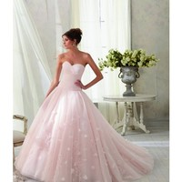 Mori Lee Blu Style Ball Gown Strapless Sweetheart Wedding Dress available in Blush, Ivory or White