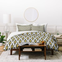 Raven Jumpo Grey Gold Geometry Duvet Cover