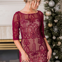 Where I Will Be Lined Lace Party Dress (Wine)
