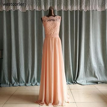 Big Discount ! High Quality Chiffon Lace Long Peach Color Bridesmaid Dresses Scoop Open Back Reasonable Price Formal Prom Gowns