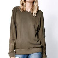 Obey Berlin Raglan Crew Neck Sweatshirt - Womens Hoodie - Green - Small