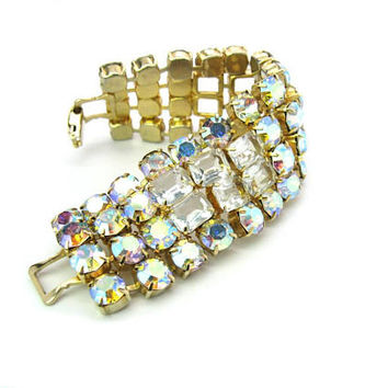 Aurora Borealis Rhinestone Bracelet. Wide AB & Octagonal Cut Open Back Crystals. Special Occasion. Vintage 1950s Statement Fashion Jewelry