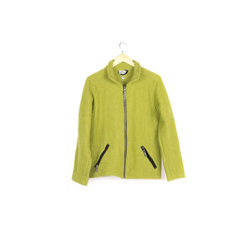 IBEX 100% Wool Jacket / thick sweater / heavy base layer / fleece / moss green / full zip / zipper / outdoors / hiking / unisex / medium