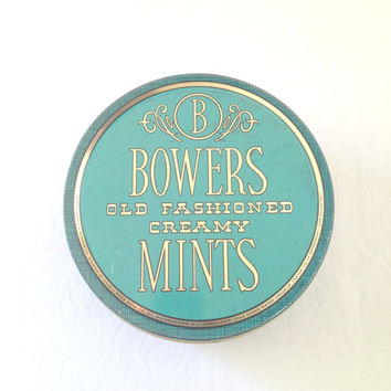 Vintage Bowers Old Fashioned Creamy Mints Tin Aqua Blue Collectible Candy Tin