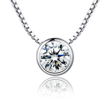 Sterling Silver Round Cubic Zirconia Pendant Necklace