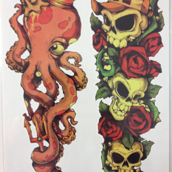NEW ARRIVAL 21 X 15 CM Octopus and Skull Cute Temporary Tattoo Stickers Temporary Body Art Waterproof#87