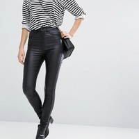 Dr Denim Solitaire Super High Waist Leather Look Super Skinny Jean at asos.com