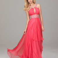 A-line Halter Watermelon Beading Chiffon Floor-length Dress at Dresseshop