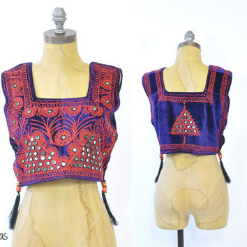 Vintage 70s Choli Crop Top • Kutch Embroidery Blouse • Kachchhi Mirror Embroidery • Indian Top • Vintage Embroidered Tanktop • Boho • Small