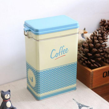 Large Sealed Kitchen Coffee Tea Sugar Jar Tin Metal Box Blue Polka Home Decor Can