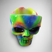 Tye Dye Skull Head Ashtray