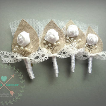 White Twigs for your Honey Lace and Burlap Wedding, Men, Groom's Boutonniere Pin Linen Groomsman, White Country Weddings, Burlap Shabby Chic
