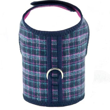 Blue and Pink Plaid Flannel Dog Cat Vest Harness
