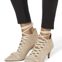 Montparnasse Lace-Up Suede Booties
