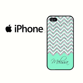 iPhone 6 Case Personalized Mint Chevron iPhone 5S Case, iPhone 4 Case, iPhone 5 Case, iPhone 5C Case (NOT REAL GLITTER)