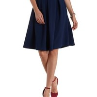Navy Blue Textured & Pleated Full Midi Skirt by Charlotte Russe