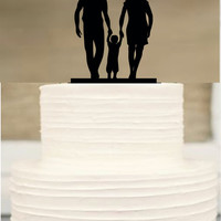 Silhouette Wedding Cake Topper, funny Wedding Cake Topper, Bride and Groom and little boy family wedding cake topper,Rustic cake topper