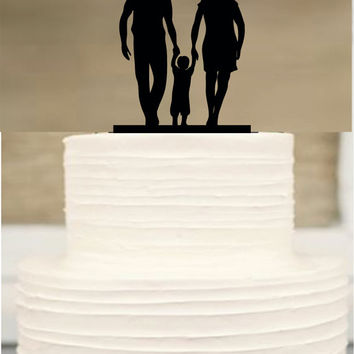 Silhouette Wedding Cake Topper Funny Bride And Groom Little Boy