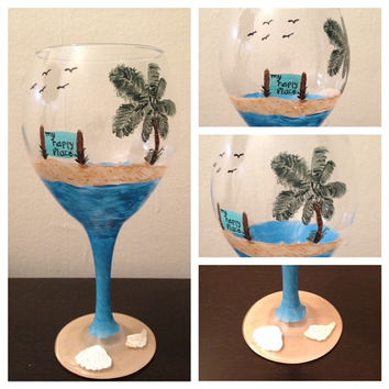 Beach Palm Tree Happy Place Hand Painted Wine Glass