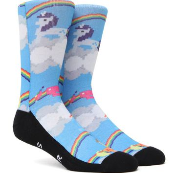 """New"" Socks Rainbows & Unicorns Crew Socks - Mens Socks - Multi - One"