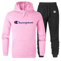 Champion Tide brand men's and women's sports sports two-piece suit Pink