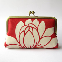 $60.00 Lotus flower in silk lining clutch purse bag by BagNoir on Etsy