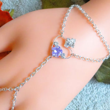 Purple Heart Slave Bracelet, Hand Harness, Hand Chain, Silver Hand Chain, Infinity Ring