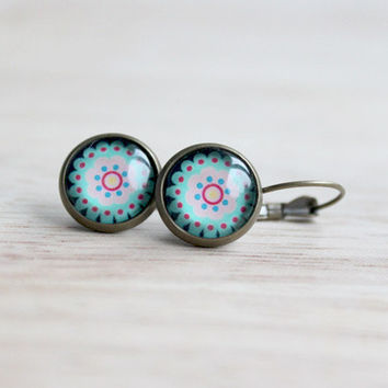 Mandala // cabochon earrings bronze, colorful flower motiv - 14 mm - boho jewelry for girls, women