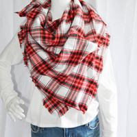 Tartan Plaid Blanket scarf / Soft Oversized Scarf Blanket / Flannel Shawl / Fall, Winter Wrap / Zara Insired / 2 styles available