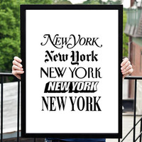 "Wall Decor Inspirational Art ""New York New York"" Motivational Quote Home Decor Inspirational Print"