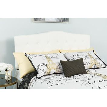 Cambridge Tufted Upholstered Full Size Headboard in White Fabric [HG-HB1708-F-W-GG]