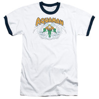 DC/AQUAMAN SPLASH - ADULT RINGER - WHITE/NAVY -