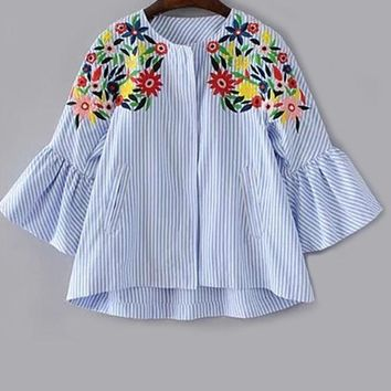 Blue Striped Bell Sleeve Flower Embroidery Blouse Round Neck Long Sleeve Casual Blouse Ladies  Top