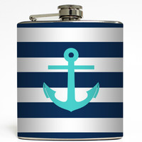 Turquoise Anchor on Navy Rugby Stripe - Nautical Flask