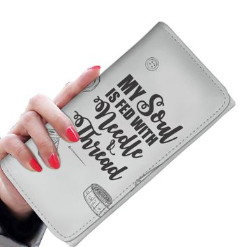 'My Soul is Fed with Needle + Thread' [Sewing / Knitting] Women's Clutch Wallet